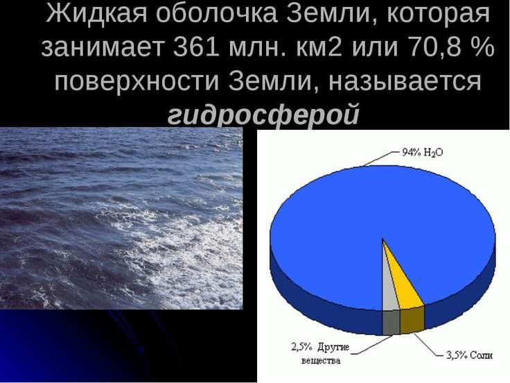 Жидкая оболочка Земли, которая занимает 361млн. км2 или 70,8% поверхности З...