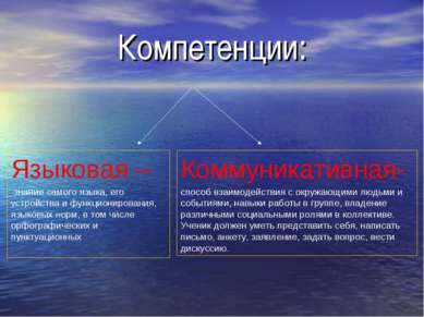 Компетенции: Языковая – знание самого языка, его устройства и функционировани...