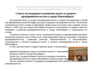 Проект ведомственной целевой программы «Развитие и поддержка малого и среднег...