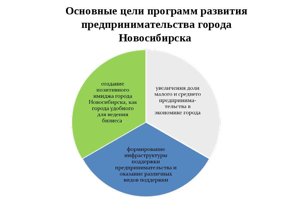 Основные цели программ развития предпринимательства города Новосибирска