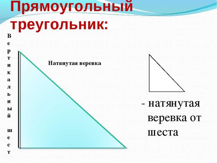 Прямоугольный треугольник: - натянутая веревка от шеста Вертикальный шест Нат...