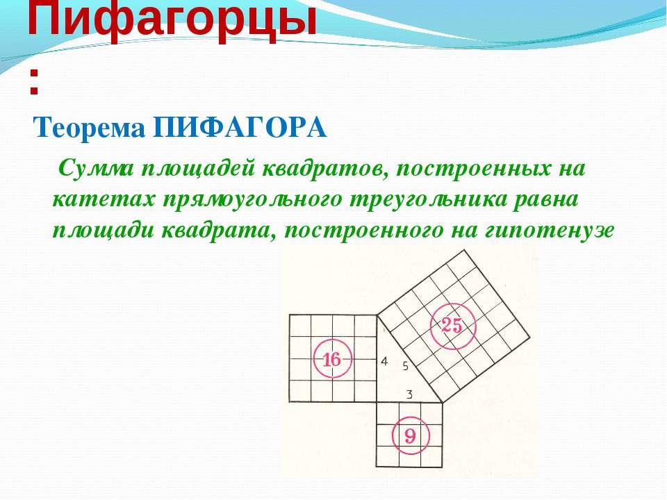 Пифагорцы: Теорема ПИФАГОРА Сумма площадей квадратов, построенных на катетах ...