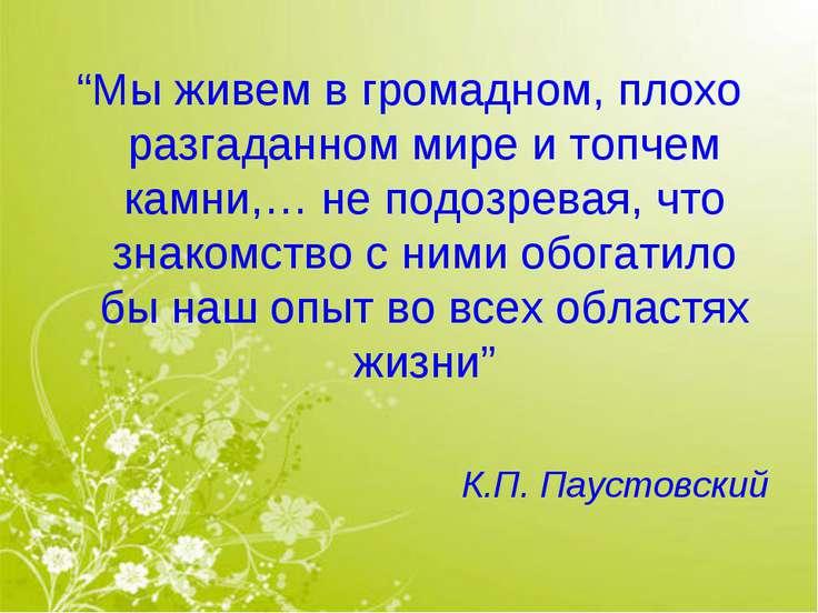"""""""Мы живем в громадном, плохо разгаданном мире и топчем камни,… не подозревая,..."""