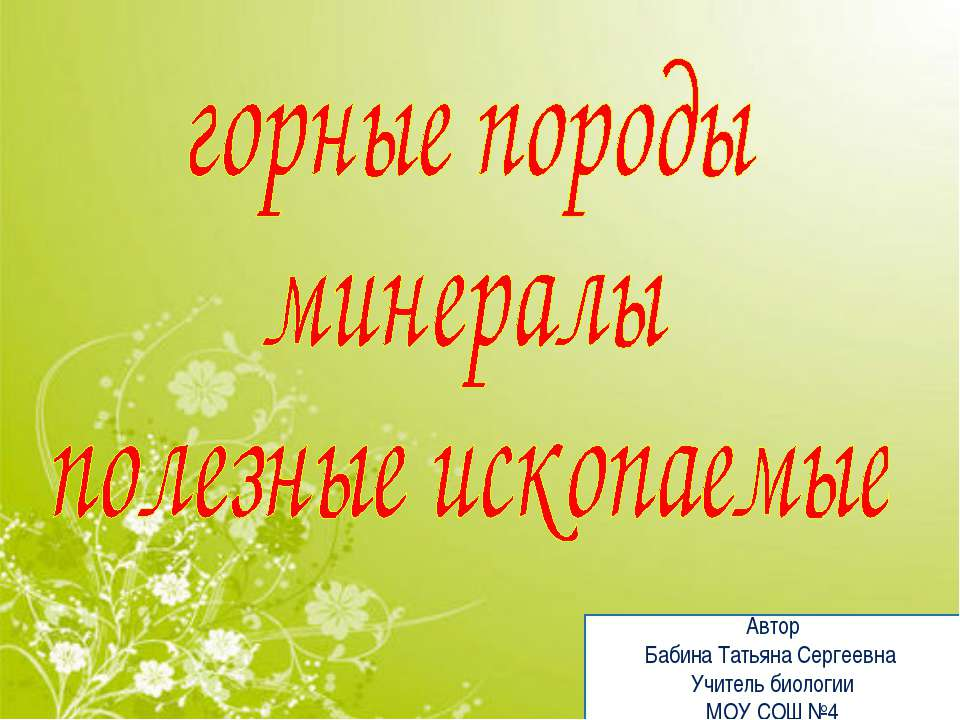 Автор Бабина Татьяна Сергеевна Учитель биологии МОУ СОШ №4