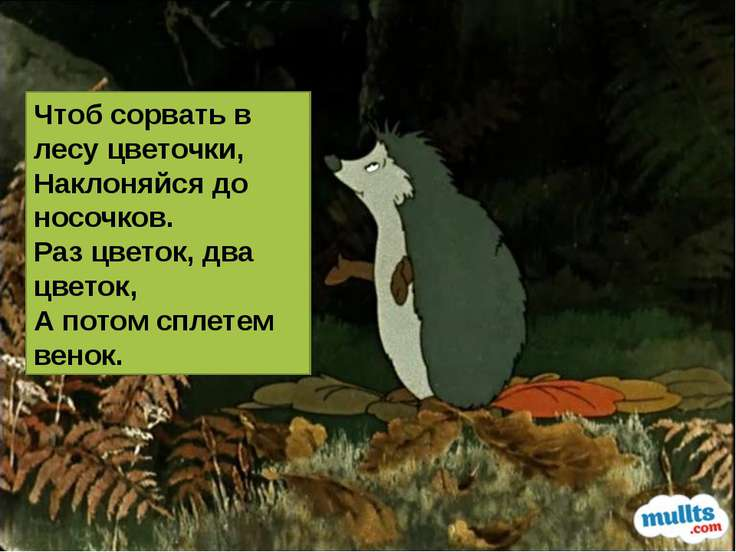 Чтоб сорвать в лесу цветочки, Наклоняйся до носочков. Раз цветок, два цветок,...
