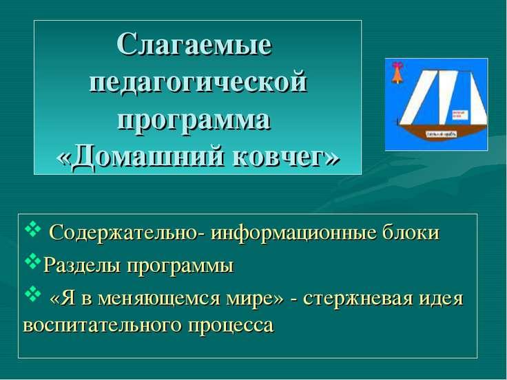 Слагаемые педагогической программа «Домашний ковчег» Содержательно- информаци...