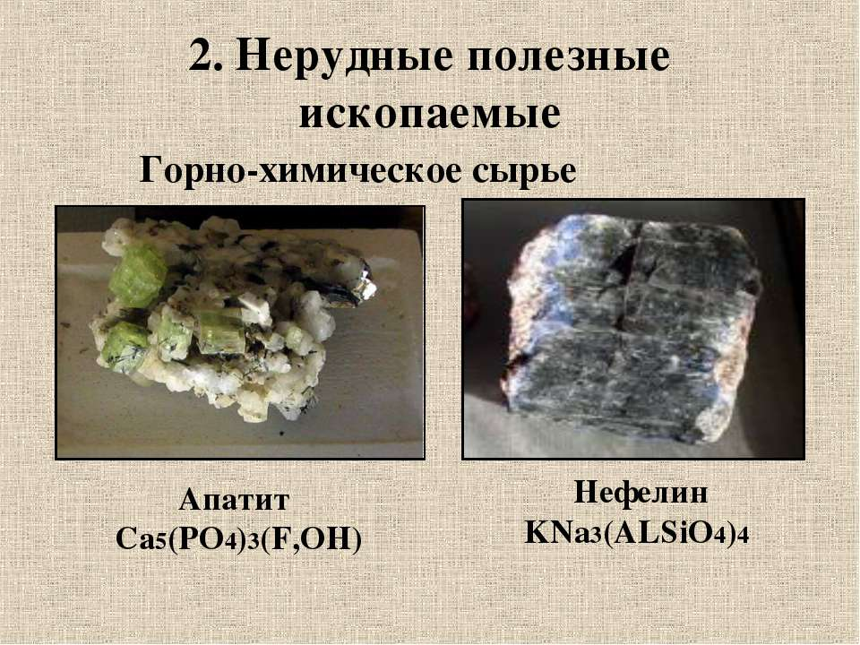 2. Нерудные полезные ископаемые Горно-химическое сырье Апатит Са5(РО4)3(F,OH)...