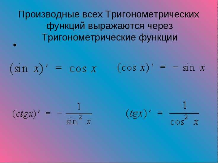 Производные всех Тригонометрических функций выражаются через Тригонометрическ...