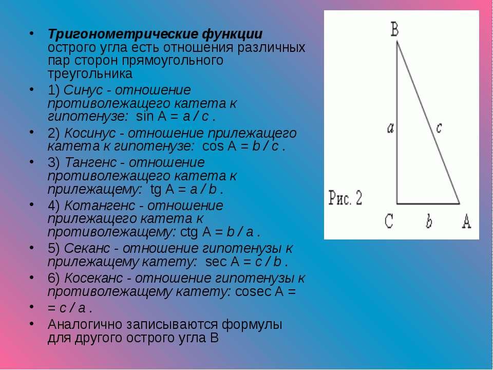 Тригонометрические функции острого угла есть отношения различных пар сторон п...