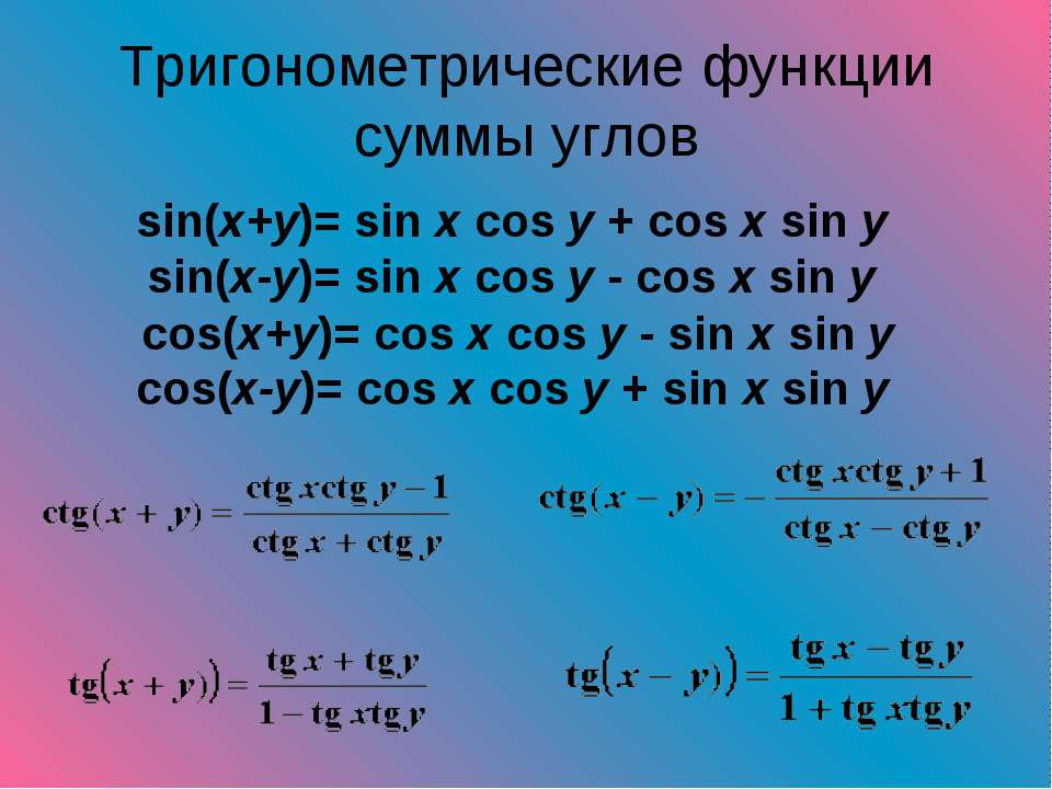 Тригонометрические функции суммы углов sin(x+y)= sin x cos y + cos x sin y si...