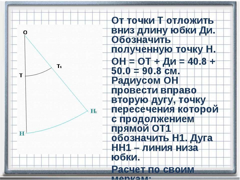 От точки Т отложить вниз длину юбки Ди. Обозначить полученную точку Н. ОН = О...