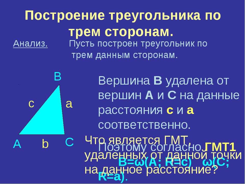 Построение треугольника по трем сторонам. Анализ. Пусть построен треугольник ...