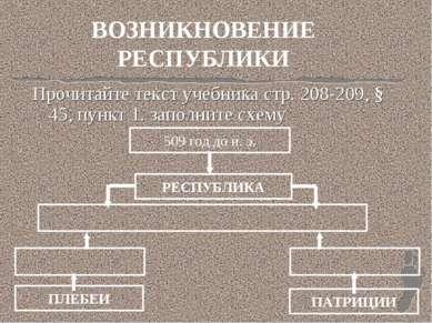 ВОЗНИКНОВЕНИЕ РЕСПУБЛИКИ Прочитайте текст учебника стр. 208-209, § 45, пункт ...
