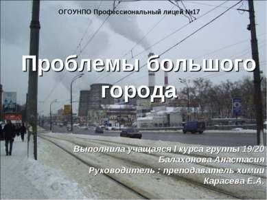 Проблемы большого города ОГОУНПО Профессиональный лицей №17 Выполнила учащаяс...