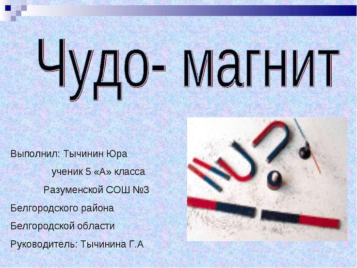 Выполнил: Тычинин Юра ученик 5 «А» класса Разуменской СОШ №3 Белгородского ра...