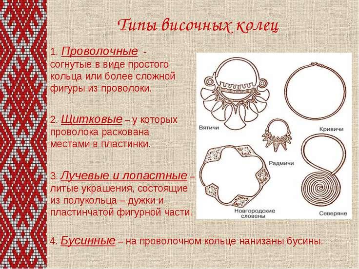 Типы височных колец 1. Проволочные - согнутые в виде простого кольца или боле...
