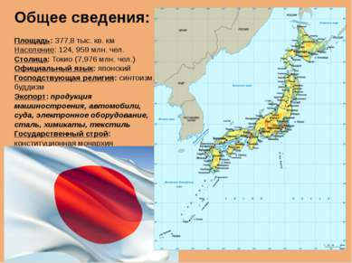 Общее сведения: Площадь: 377,8 тыс. кв. км Население: 124, 959 млн. чел. Стол...