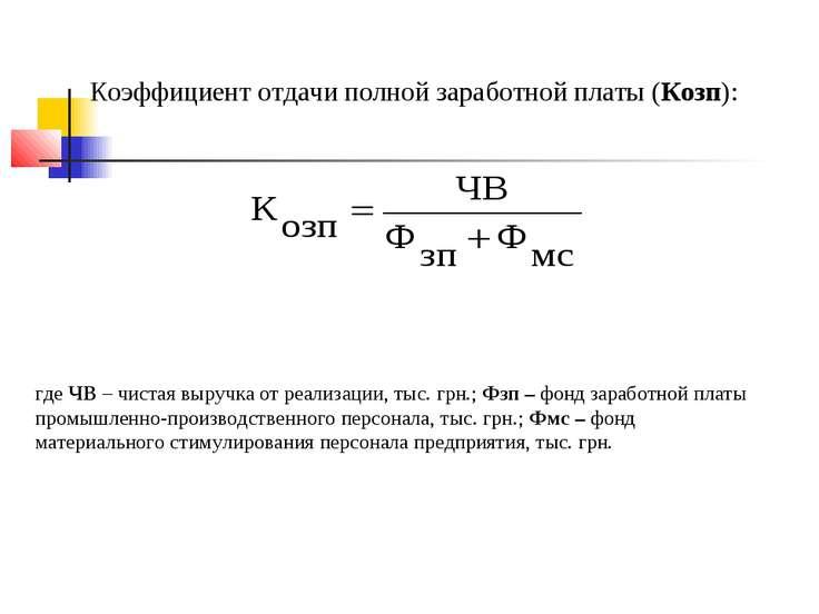 Коэффициент отдачи полной заработной платы (Козп): где ЧВ – чистая выручка от...