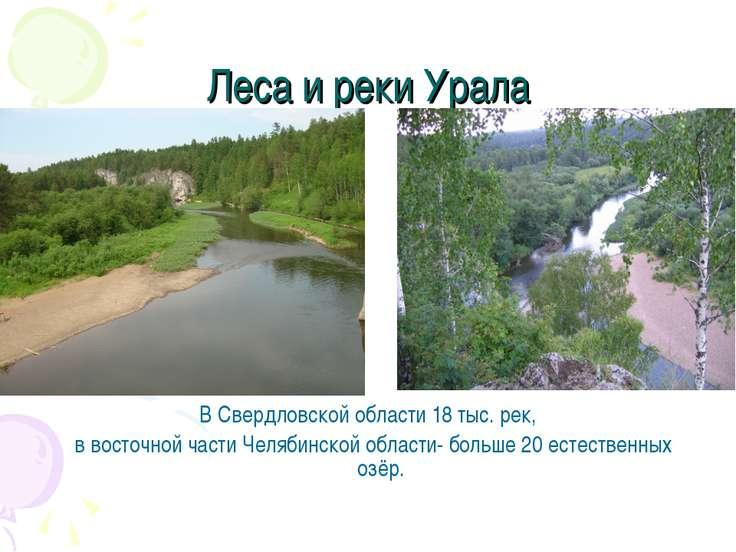 Леса и реки Урала В Свердловской области 18 тыс. рек, в восточной части Челяб...