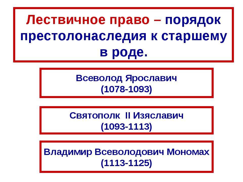 Лествичное право – порядок престолонаследия к старшему в роде. Всеволод Яросл...