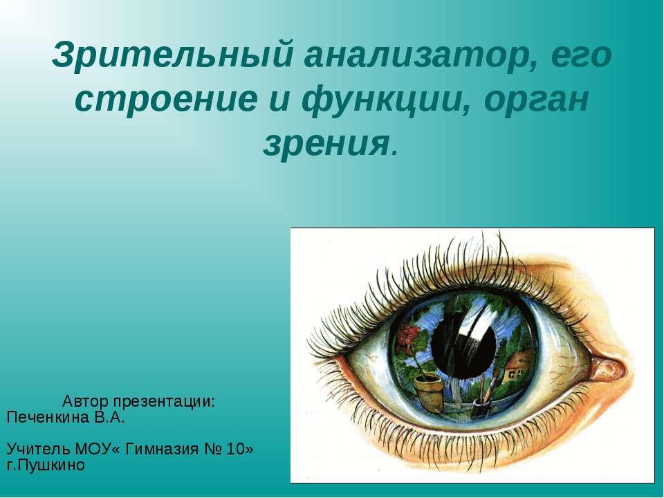 Зрительный анализатор, его строение и функции, орган зрения. Автор презентаци...