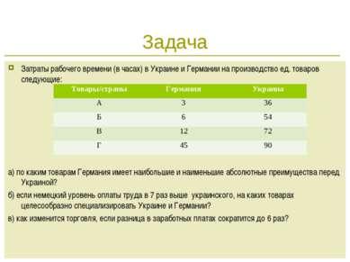 * Задача Затраты рабочего времени (в часах) в Украине и Германии на производс...
