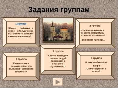 Задания группам 1 группа Какие события в жизни И.С.Тургенева вы считаете самы...