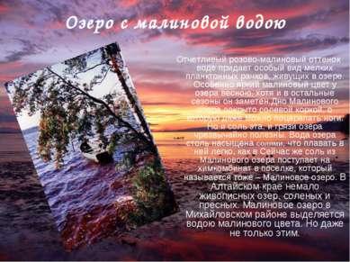 Озеро с малиновой водою Отчетливый розово-малиновый оттенок воде придает особ...