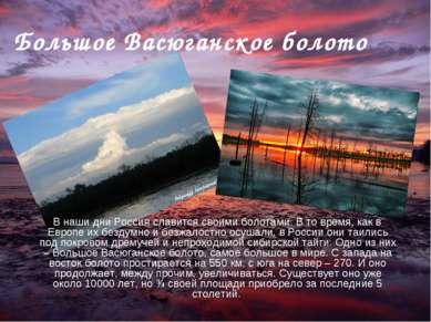 Большое Васюганское болото В наши дни Россия славится своими болотами. В то в...