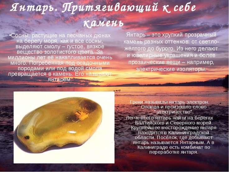 Янтарь. Притягивающий к себе камень Греки называли янтарь электрон. Отсюда и ...