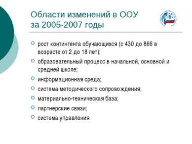 Области изменений в ООУ за 2005-2007 годы рост контингента обучающихся (с 430...