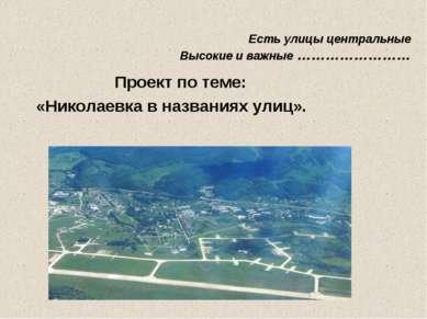 Есть улицы центральные Высокие и важные …………………… Проект по теме: «Николаевка ...