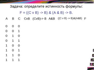 Задача: определите истинность формулы: F = ((С v В) -> В) & (А & В) -> В. А В...