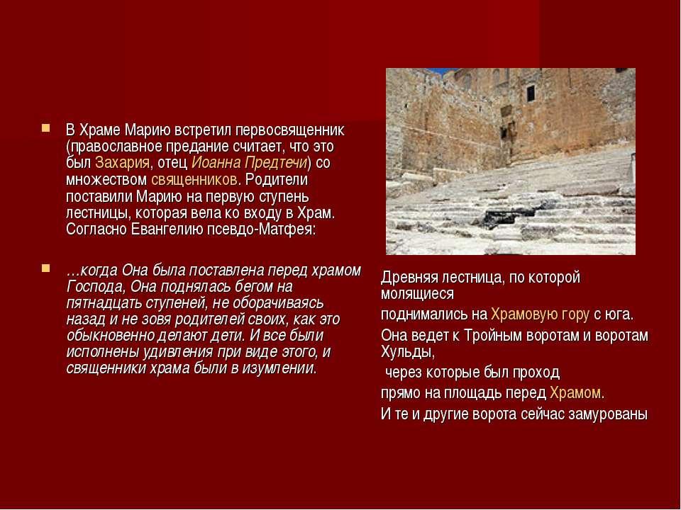 В Храме Марию встретил первосвященник (православное предание считает, что это...