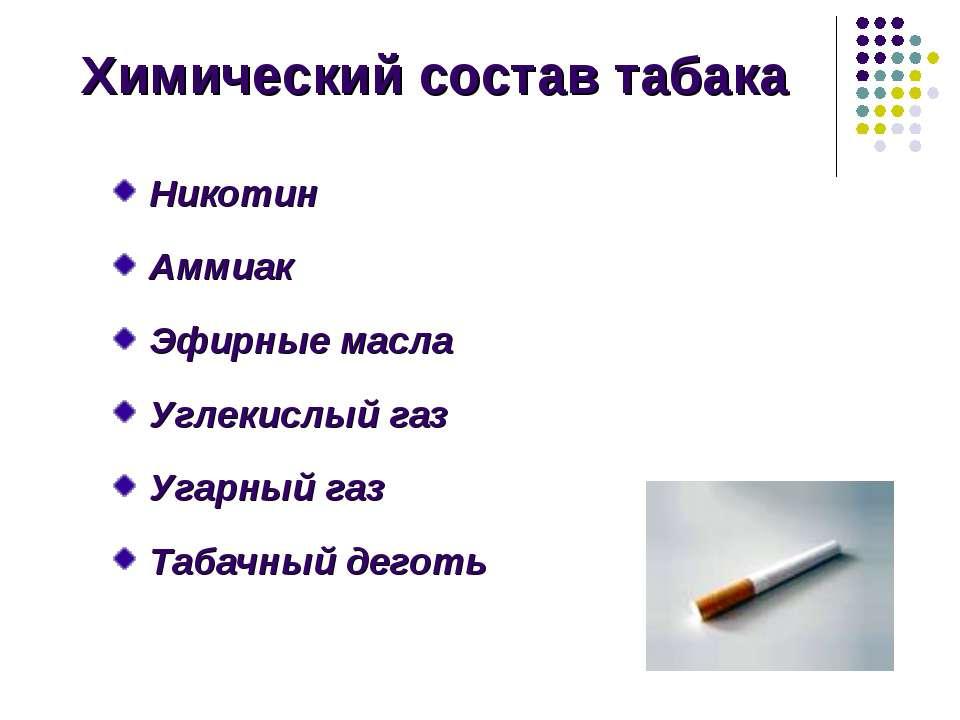 Химический состав табака Никотин Аммиак Эфирные масла Углекислый газ Угарный ...