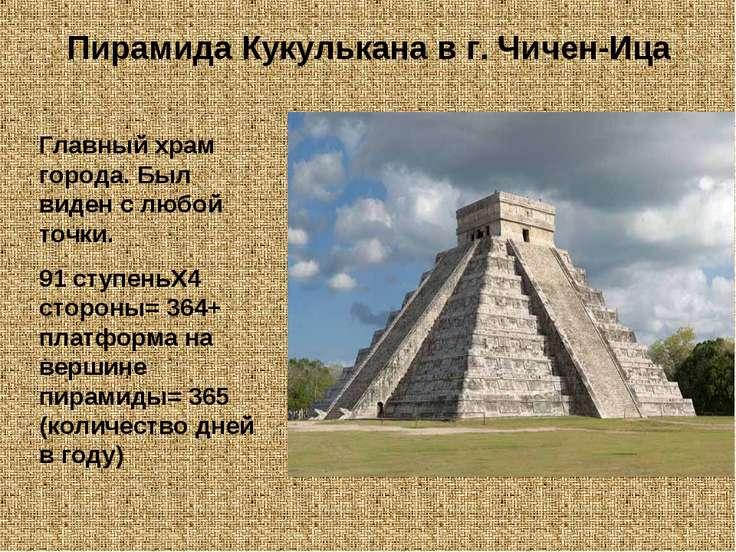 Пирамида Кукулькана в г. Чичен-Ица Главный храм города. Был виден с любой точ...