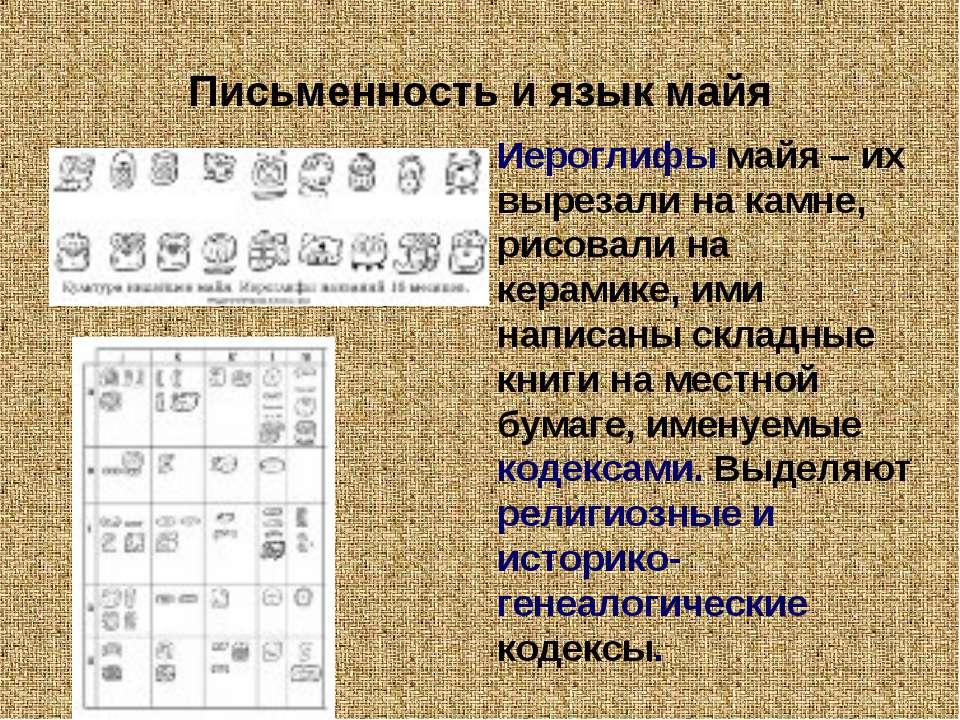 Письменность и язык майя Иероглифы майя – их вырезали на камне, рисовали на к...