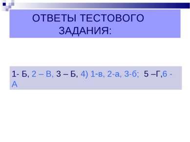 ОТВЕТЫ ТЕСТОВОГО ЗАДАНИЯ: 1- Б, 2 – В, 3 – Б, 4) 1-в, 2-а, 3-б; 5 –Г,6 - А