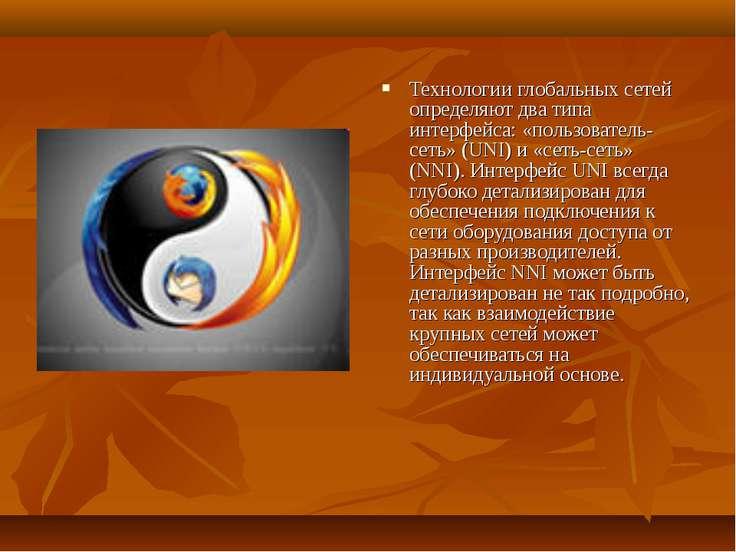 Технологии глобальных сетей определяют два типа интерфейса: «пользователь-сет...
