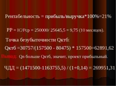 Рентабельность = прибыль/выручка*100%=21% РР = IC/Pср = 250000/ 25645,5 = 9,7...