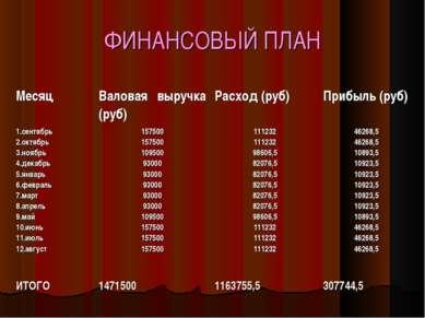 ФИНАНСОВЫЙ ПЛАН Месяц Валовая выручка (руб) Расход (руб) Прибыль (руб) сентяб...