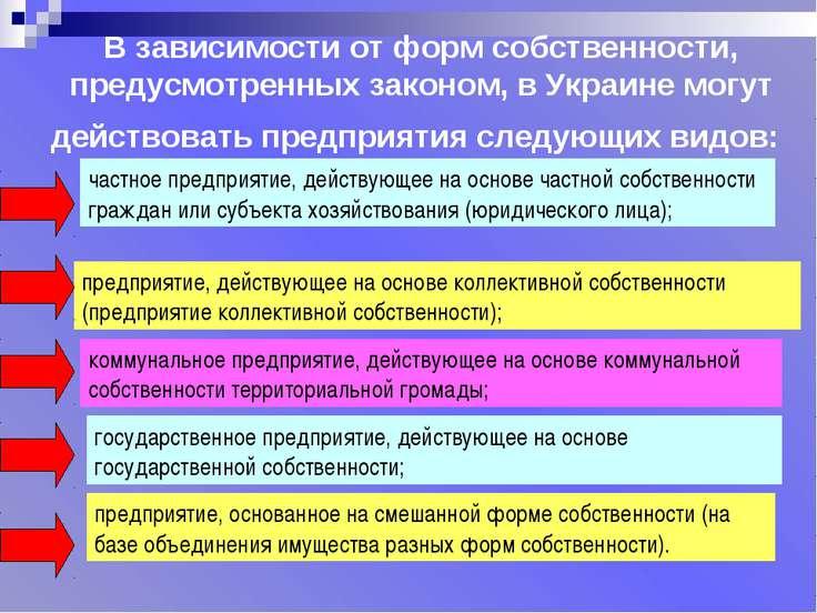 В зависимости от форм собственности, предусмотренных законом, в Украине могут...
