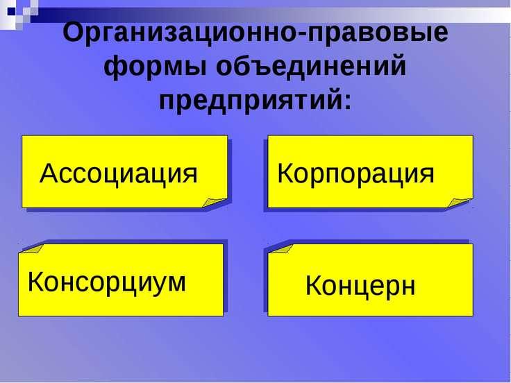 Организационно-правовые формы объединений предприятий: Ассоциация Корпорация ...