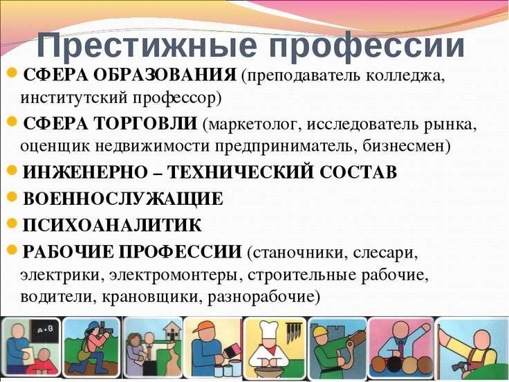 Престижные профессии СФЕРА ОБРАЗОВАНИЯ (преподаватель колледжа, институтский ...