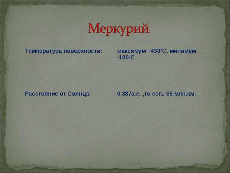 Температура поверхности: максимум +430oC, минимум -180oC Расстояние от Солнца...