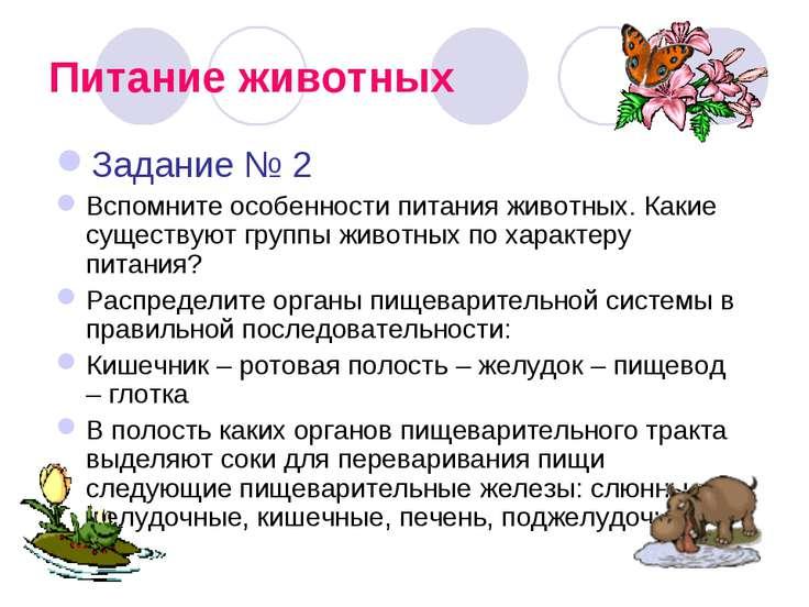 Питание животных Задание № 2 Вспомните особенности питания животных. Какие су...