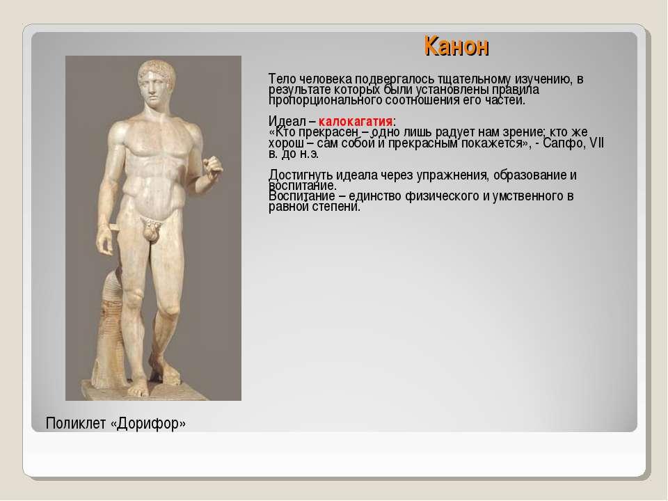 Канон Тело человека подвергалось тщательному изучению, в результате которых б...