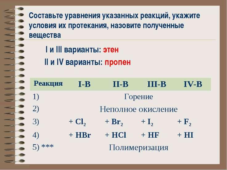 Составьте уравнения указанных реакций, укажите условия их протекания, назовит...