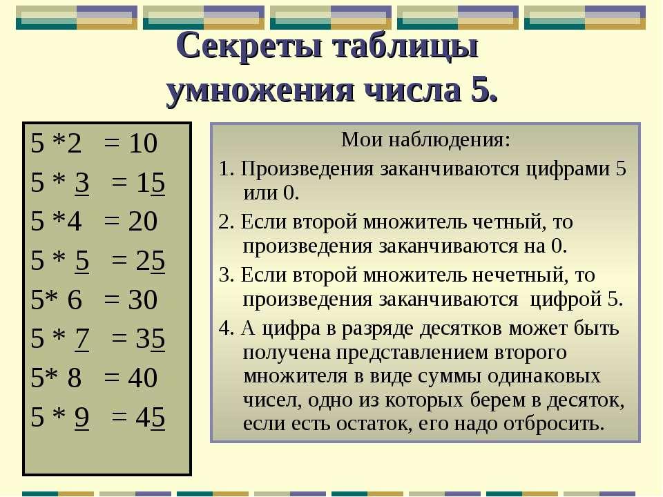 Секреты таблицы умножения числа 5. 5 *2 = 10 5 * 3 = 15 5 *4 = 20 5 * 5 = 25 ...