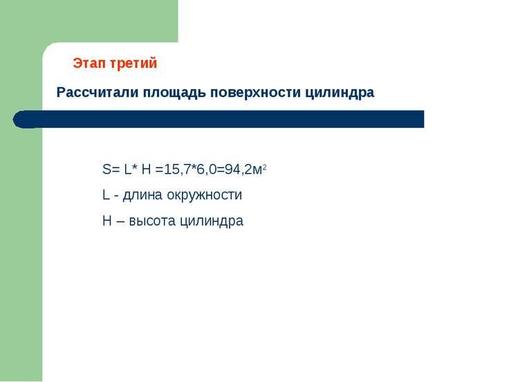 Рассчитали площадь поверхности цилиндра Этап третий S= L* H =15,7*6,0=94,2м2 ...